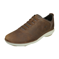 Geox U Nebula B Mens Slip On Leather Trainers / Shoes - Brown