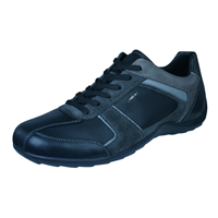 Geox U Pavel B Mens Leather Trainers / Shoes - Black