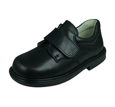 Cool Boys William Leather School Shoes Hook and Loop - Black