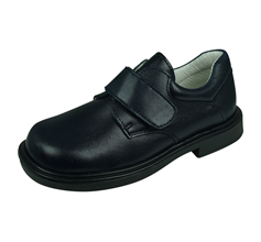 Cool Boys William Leather School Shoes Hook and Loop - Navy Blue
