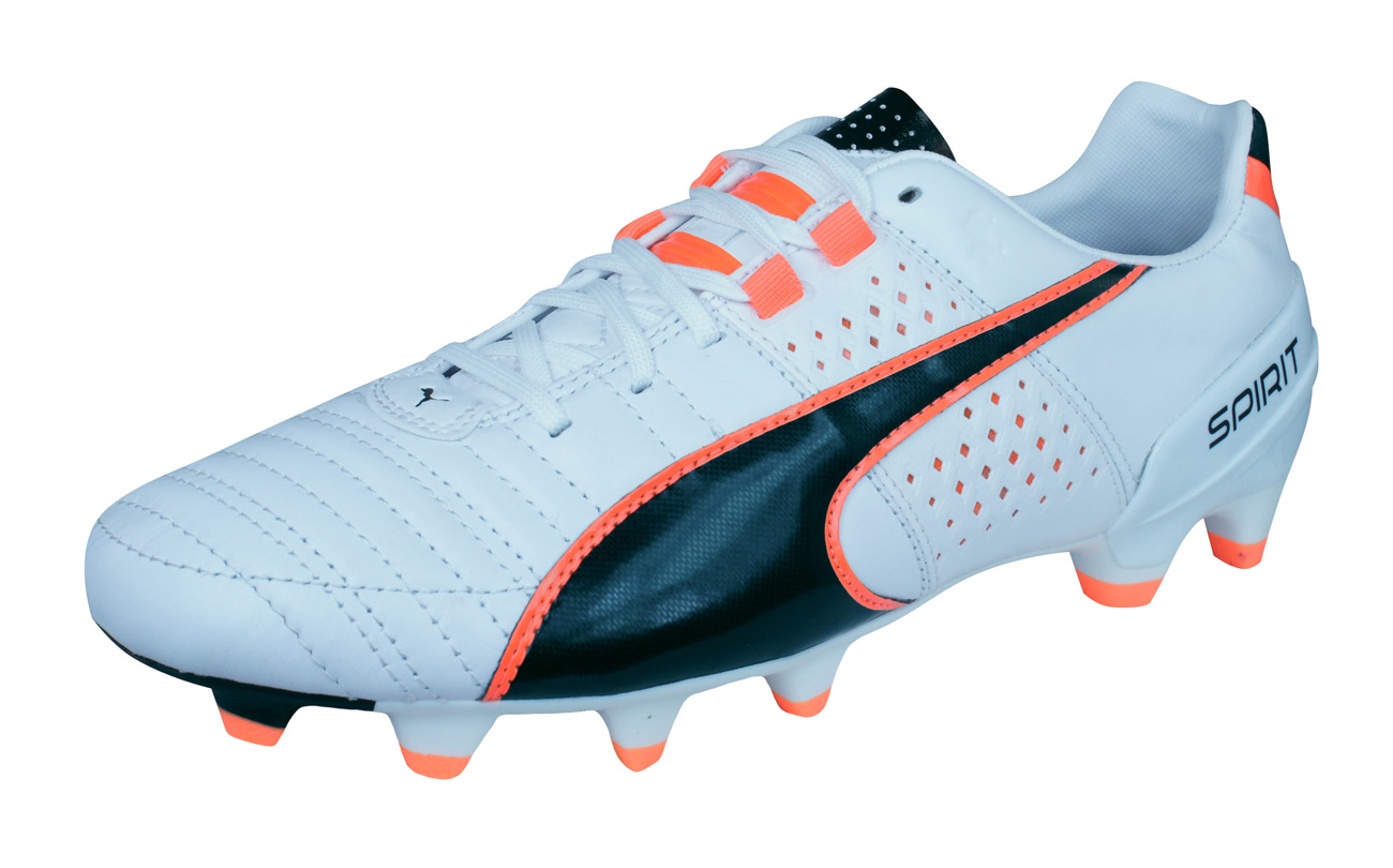 Mens Puma Firm Ground Football Boots Spirit II FG Leather Soccer Cleats -  White 498aead91