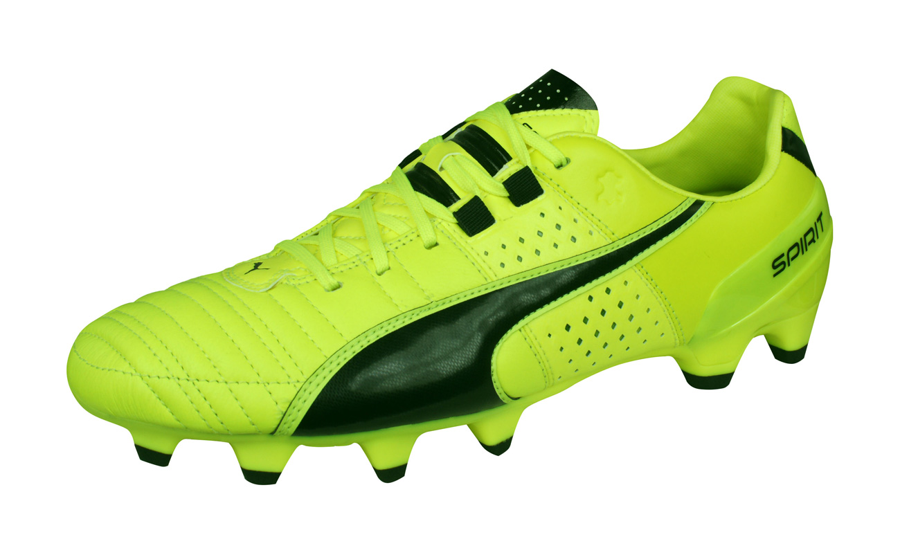 ee8f06c6b Mens Puma Firm Ground Football Boots Spirit II FG Leather Soccer Cleats -  Yellow