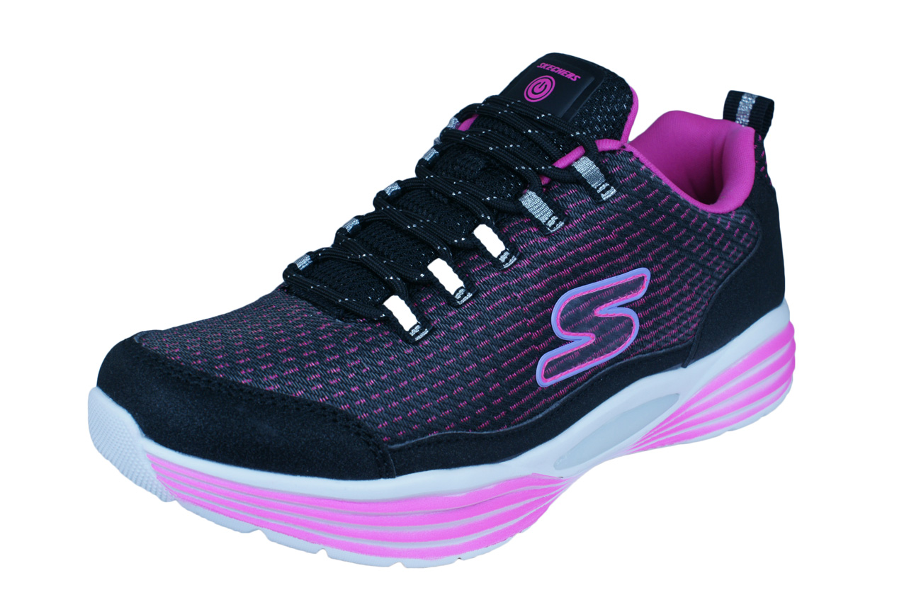 SKECHERS GIRLS GALAXY Lights Light Up Sporty Casual Trainers Shoes
