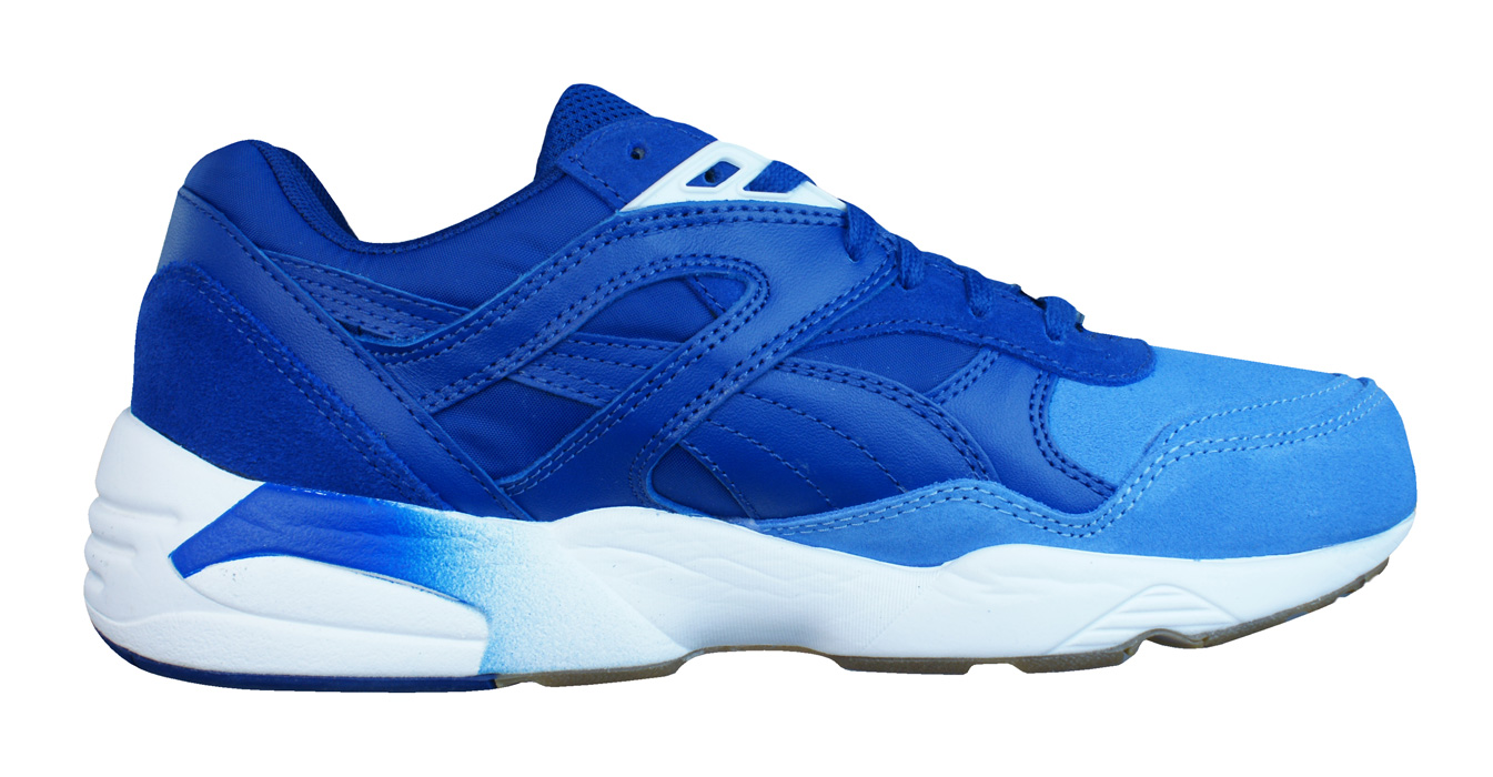 65ccf80942e0 Puma R698 Blocked Trinomic Mens Leather Trainers   Shoes - Blue at ...