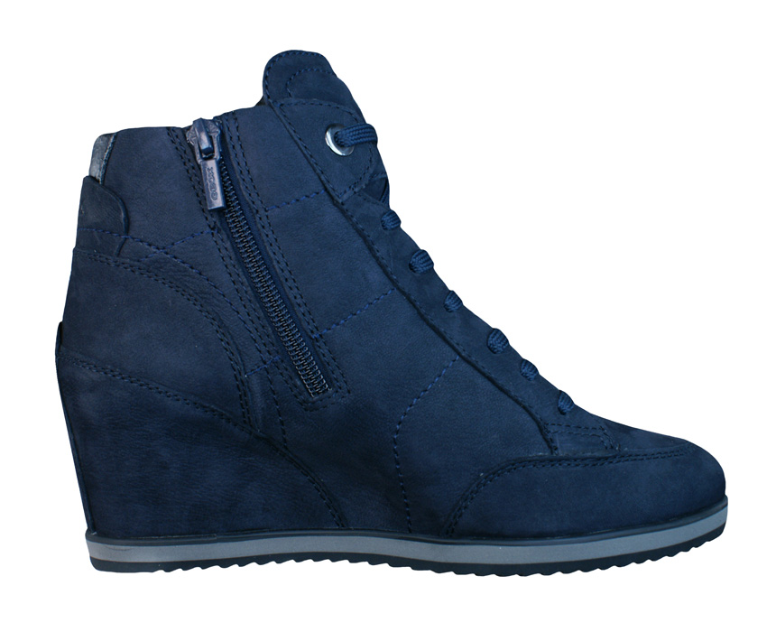 Geox D Illusion A Womens Wedge Trainers Boots Navy