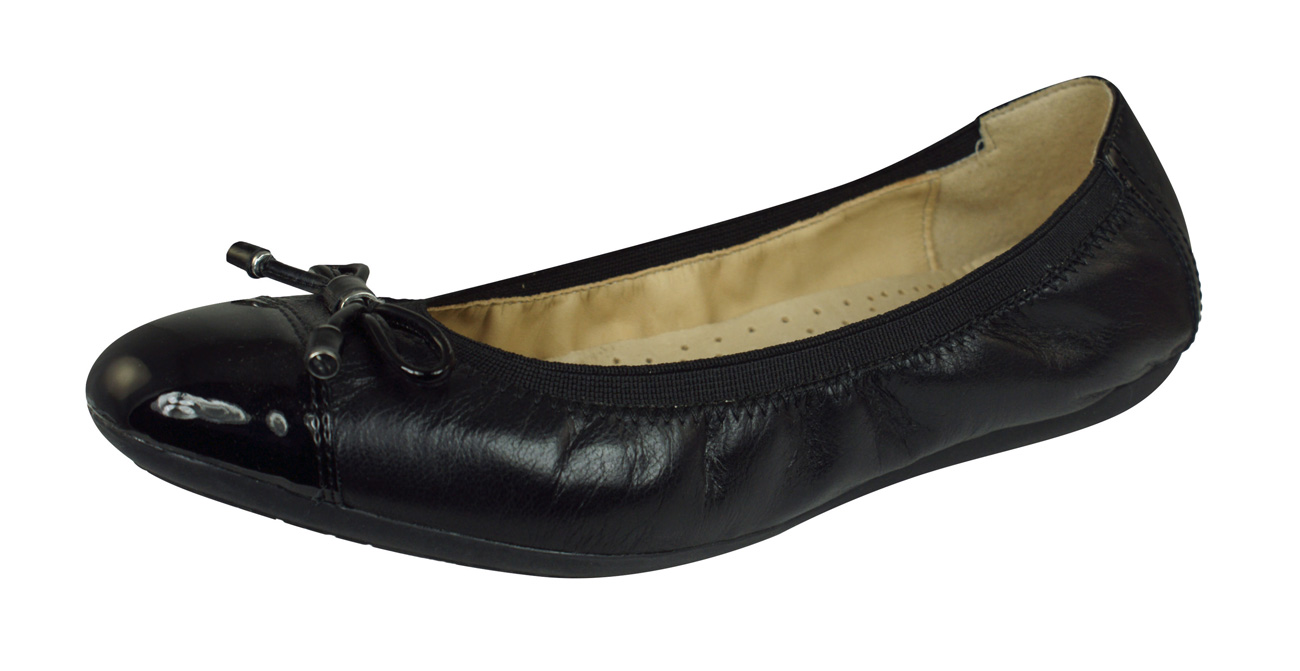 feine handwerkskunst neues Großhändler Geox D Lola 2FIT C Nappa Leather Womens Ballet Pumps / Shoes ...