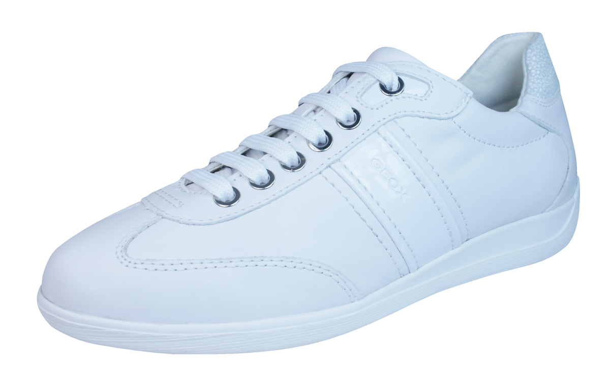 nice cheap speical offer online here Geox D Myria A Womens Leather Trainers / Shoes - White at ...