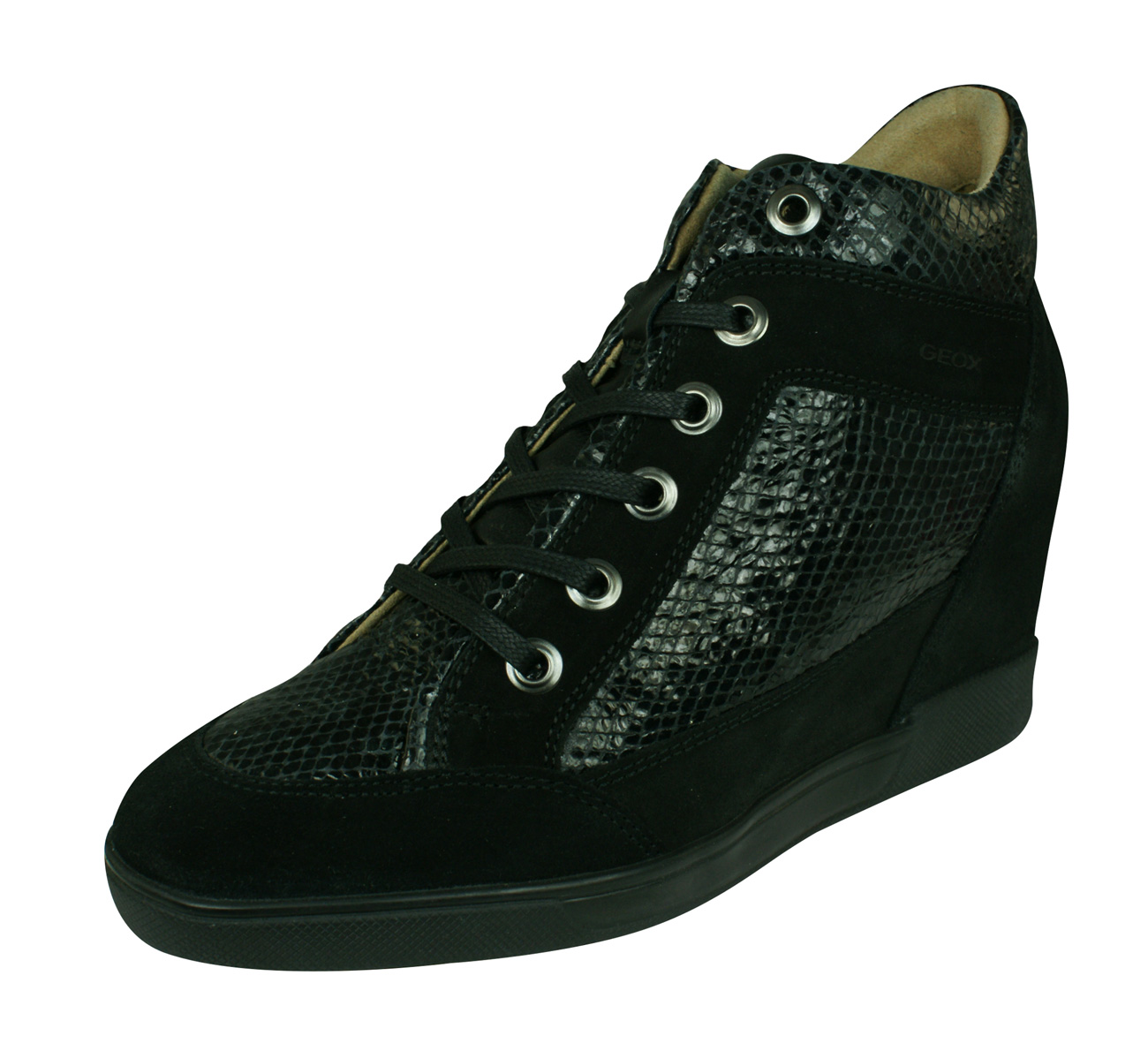 768181782b Geox D Carum C Womens Leather Wedge Trainers / Boots - Black at ...