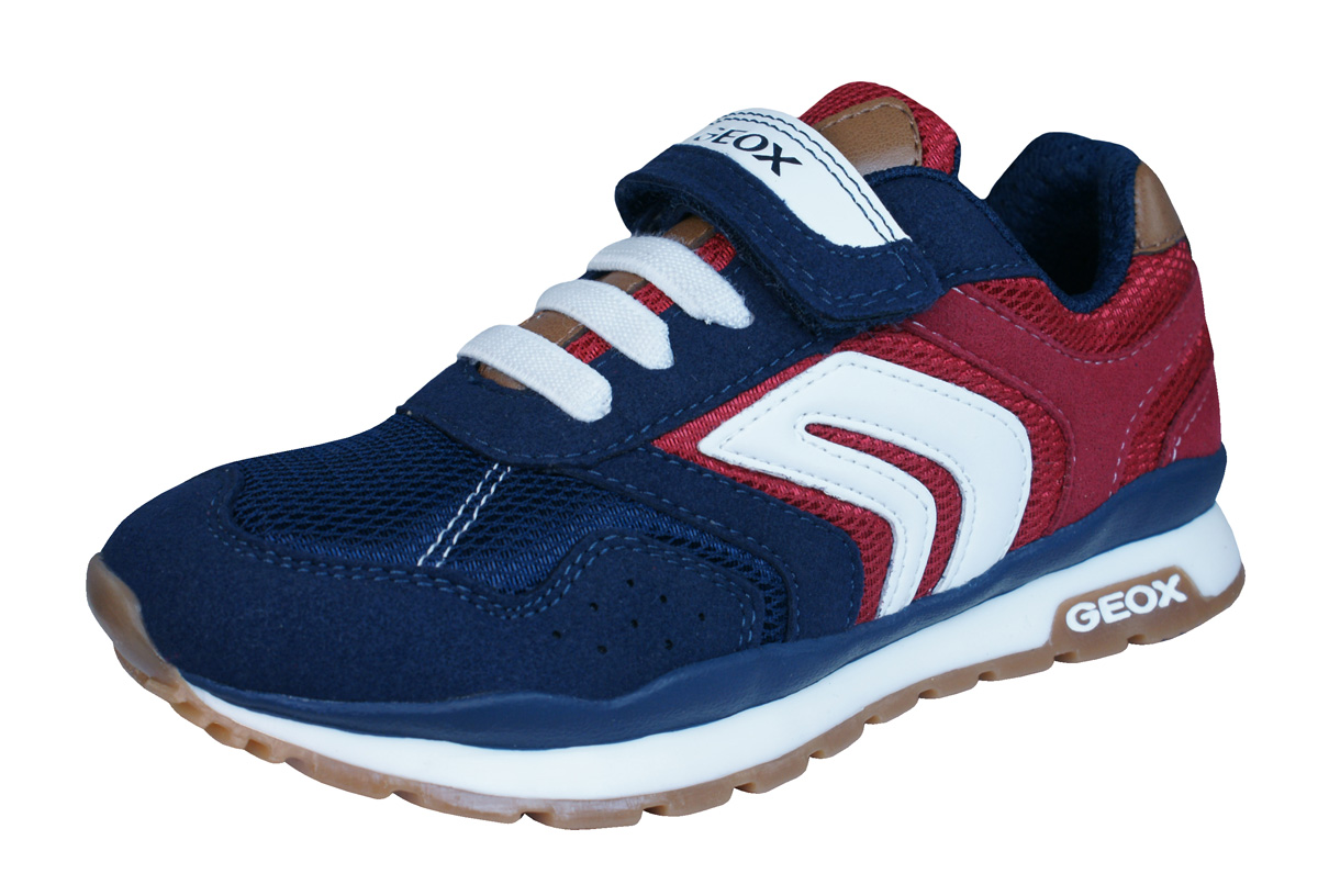 Geox J Pavel B Boys Trainers / Shoes - Navy Blue and Red ...