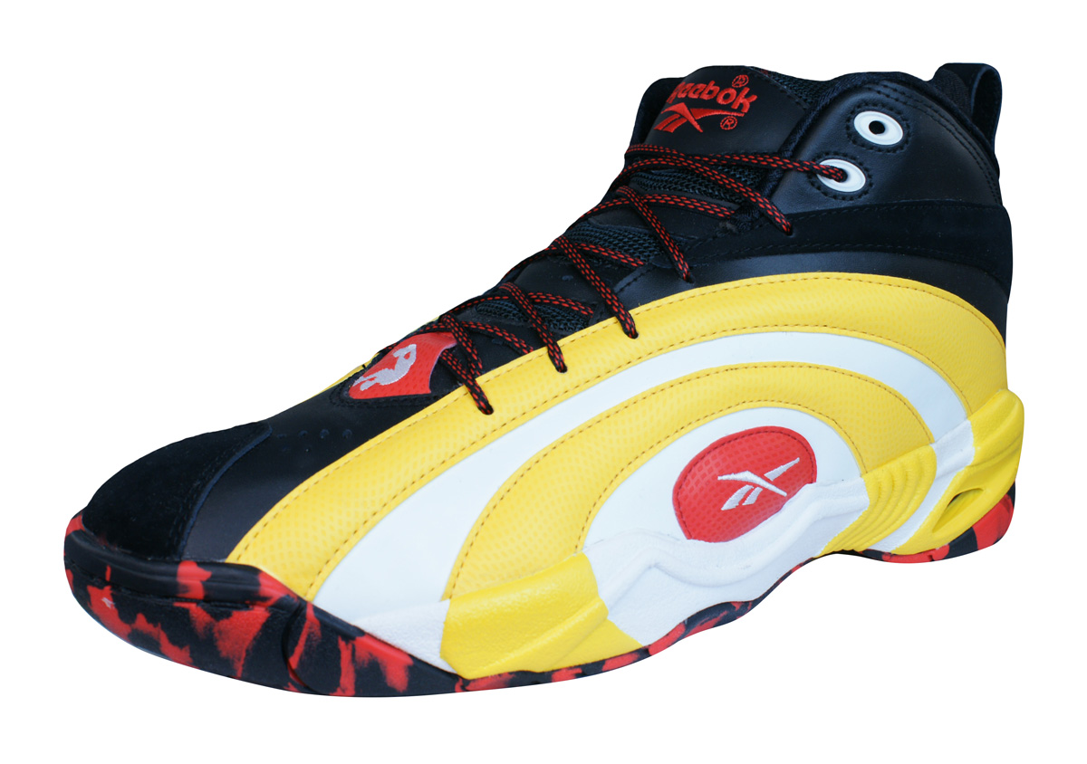 3e481602423 Reebok Classic Shaqnosis OG Mens Leather Mid Top Trainers - Yellow and Black