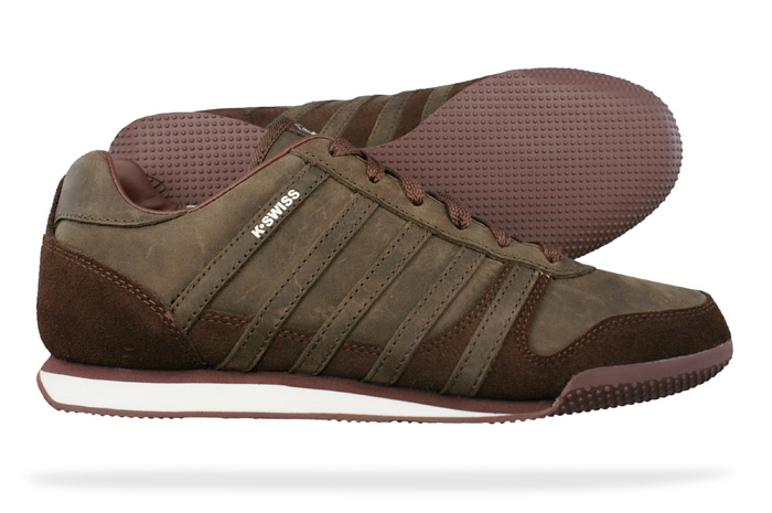 k swiss whitburn l mens leather trainers shoes brown